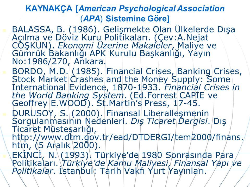 KAYNAKÇA [American Psychological Association (APA) Sistemine Göre]